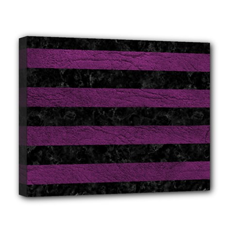 Stripes2 Black Marble & Purple Leather Deluxe Canvas 20  X 16   by trendistuff