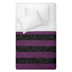 Stripes2 Black Marble & Purple Leather Duvet Cover (single Size) by trendistuff