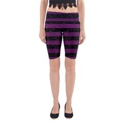 Stripes2 Black Marble & Purple Leather Yoga Cropped Leggings by trendistuff