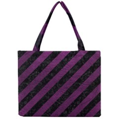 Stripes3 Black Marble & Purple Leather (r) Mini Tote Bag by trendistuff