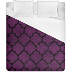 Tile1 Black Marble & Purple Leather Duvet Cover (california King Size) by trendistuff