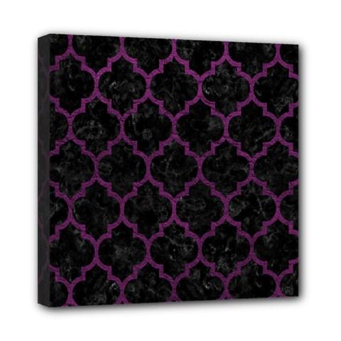 Tile1 Black Marble & Purple Leather (r) Mini Canvas 8  X 8  by trendistuff