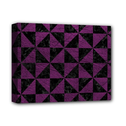Triangle1 Black Marble & Purple Leather Deluxe Canvas 14  X 11  by trendistuff