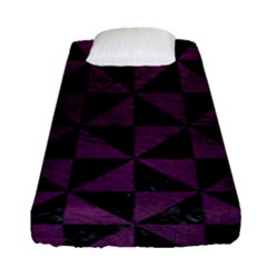Triangle1 Black Marble & Purple Leather Fitted Sheet (single Size) by trendistuff