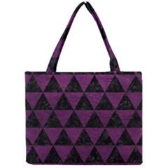 Triangle3 Black Marble & Purple Leather Mini Tote Bag by trendistuff