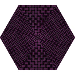 Woven1 Black Marble & Purple Leather (r) Mini Folding Umbrellas by trendistuff