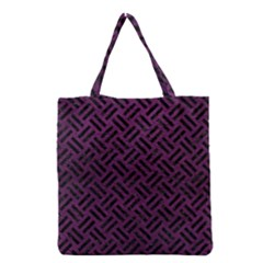 Woven2 Black Marble & Purple Leather Grocery Tote Bag by trendistuff