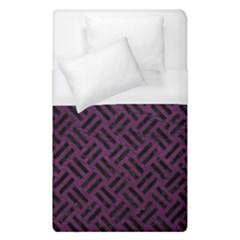 Woven2 Black Marble & Purple Leather Duvet Cover (single Size) by trendistuff
