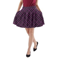 Woven2 Black Marble & Purple Leather A Line Pocket Skirt by trendistuff