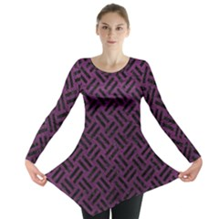 Woven2 Black Marble & Purple Leather Long Sleeve Tunic  by trendistuff