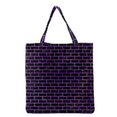 Brick1 Black Marble & Purple Watercolor (r) Grocery Tote Bag by trendistuff