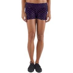 Brick1 Black Marble & Purple Watercolor (r) Yoga Shorts by trendistuff