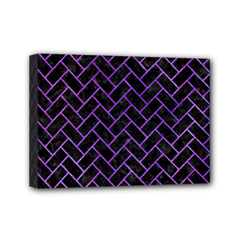 Brick2 Black Marble & Purple Watercolor (r) Mini Canvas 7  X 5  by trendistuff