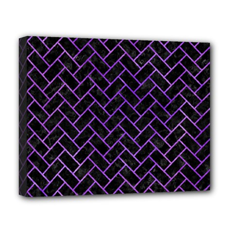 Brick2 Black Marble & Purple Watercolor (r) Deluxe Canvas 20  X 16   by trendistuff