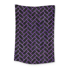 Brick2 Black Marble & Purple Watercolor (r) Small Tapestry by trendistuff