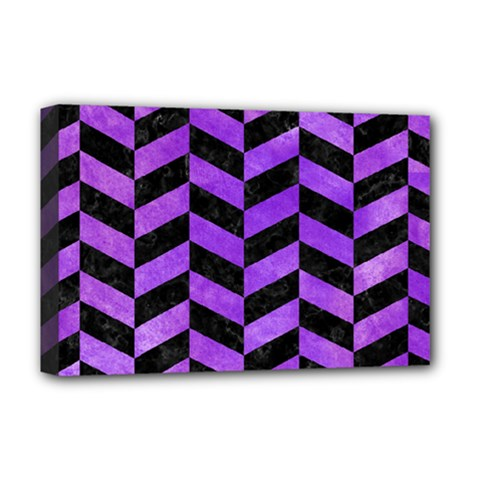 Chevron1 Black Marble & Purple Watercolor Deluxe Canvas 18  X 12   by trendistuff