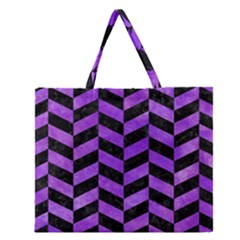 Chevron1 Black Marble & Purple Watercolor Zipper Large Tote Bag by trendistuff