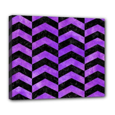 Chevron2 Black Marble & Purple Watercolor Deluxe Canvas 24  X 20   by trendistuff