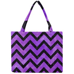 Chevron9 Black Marble & Purple Watercolor Mini Tote Bag by trendistuff