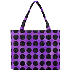 Circles1 Black Marble & Purple Watercolor Mini Tote Bag by trendistuff