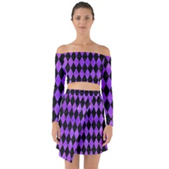 Diamond1 Black Marble & Purple Watercolor Off Shoulder Top With Skirt Set