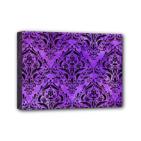 Damask1 Black Marble & Purple Watercolor Mini Canvas 7  X 5  by trendistuff