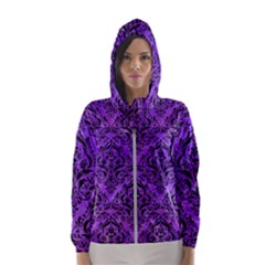 Damask1 Black Marble & Purple Watercolor Hooded Wind Breaker (women)