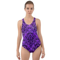 Damask1 Black Marble & Purple Watercolor Cut Out Back One Piece Swimsuit by trendistuff