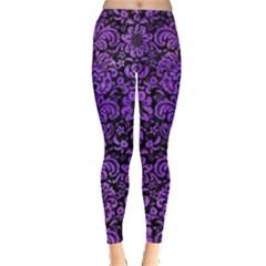 Damask2 Black Marble & Purple Watercolor (r) Leggings  by trendistuff
