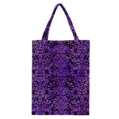 Damask2 Black Marble & Purple Watercolor (r) Classic Tote Bag by trendistuff