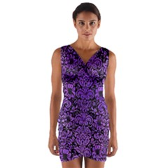Damask2 Black Marble & Purple Watercolor (r) Wrap Front Bodycon Dress