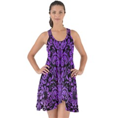 Damask2 Black Marble & Purple Watercolor (r) Show Some Back Chiffon Dress