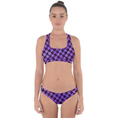 Houndstooth2 Black Marble & Purple Watercolor Cross Back Hipster Bikini Set