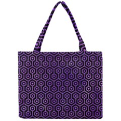 Hexagon1 Black Marble & Purple Watercolor (r) Mini Tote Bag by trendistuff