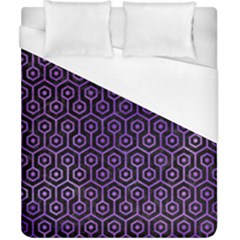 Hexagon1 Black Marble & Purple Watercolor (r) Duvet Cover (california King Size) by trendistuff