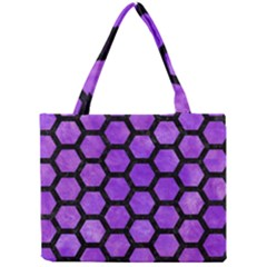 Hexagon2 Black Marble & Purple Watercolor Mini Tote Bag by trendistuff