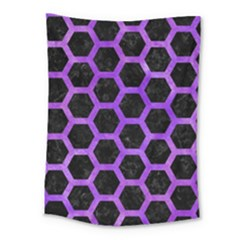 Hexagon2 Black Marble & Purple Watercolor (r) Medium Tapestry by trendistuff
