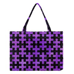 Puzzle1 Black Marble & Purple Watercolor Medium Tote Bag by trendistuff