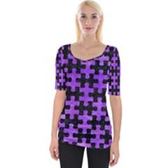 Puzzle1 Black Marble & Purple Watercolor Wide Neckline Tee by trendistuff