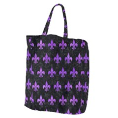 Royal1 Black Marble & Purple Watercolor Giant Grocery Zipper Tote