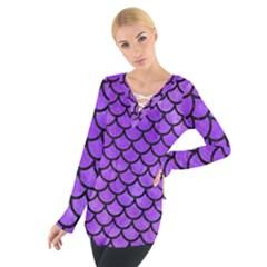Scales1 Black Marble & Purple Watercolor Tie Up Tee by trendistuff