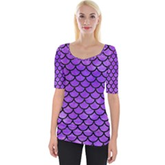 Scales1 Black Marble & Purple Watercolor Wide Neckline Tee