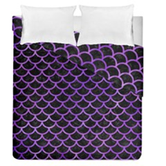 Scales1 Black Marble & Purple Watercolor (r) Duvet Cover Double Side (queen Size) by trendistuff