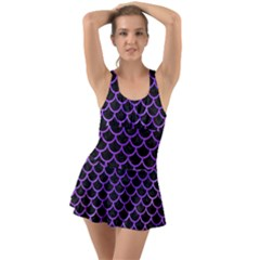 Scales1 Black Marble & Purple Watercolor (r) Swimsuit