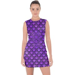 Scales2 Black Marble & Purple Watercolor Lace Up Front Bodycon Dress
