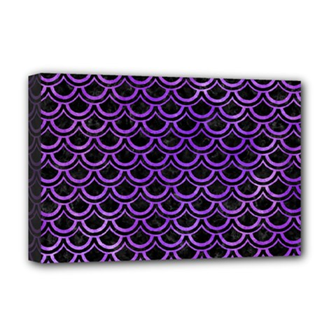 Scales2 Black Marble & Purple Watercolor (r) Deluxe Canvas 18  X 12   by trendistuff