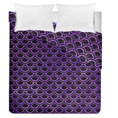 Scales2 Black Marble & Purple Watercolor (r) Duvet Cover Double Side (queen Size) by trendistuff