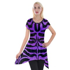 Skin2 Black Marble & Purple Watercolor (r) Short Sleeve Side Drop Tunic by trendistuff
