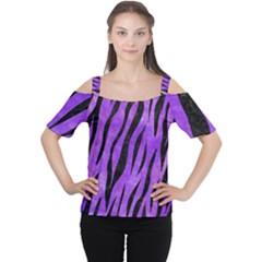 Skin3 Black Marble & Purple Watercolor Cutout Shoulder Tee by trendistuff