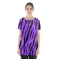 Skin3 Black Marble & Purple Watercolor Skirt Hem Sports Top by trendistuff